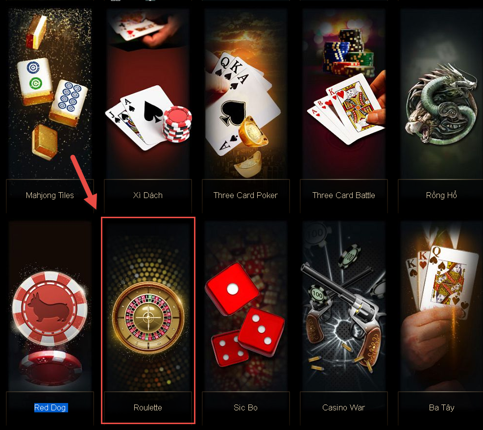 chọn game roulette